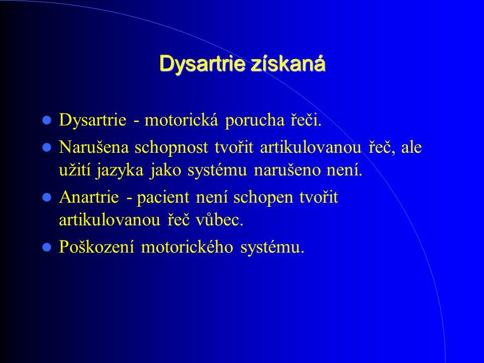 Dysartrie získaná Dysartrie - motorická porucha řeči.