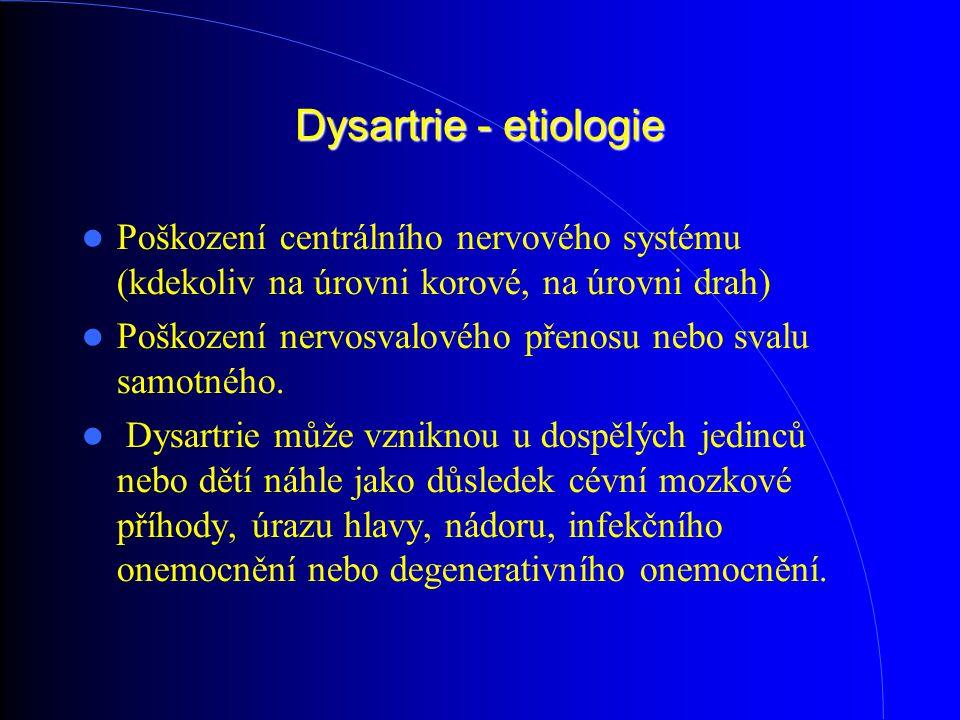 Dysartrie - etiologie Poškození centrálního nervového systému (kdekoliv na úrovni korové, na úrovni drah)