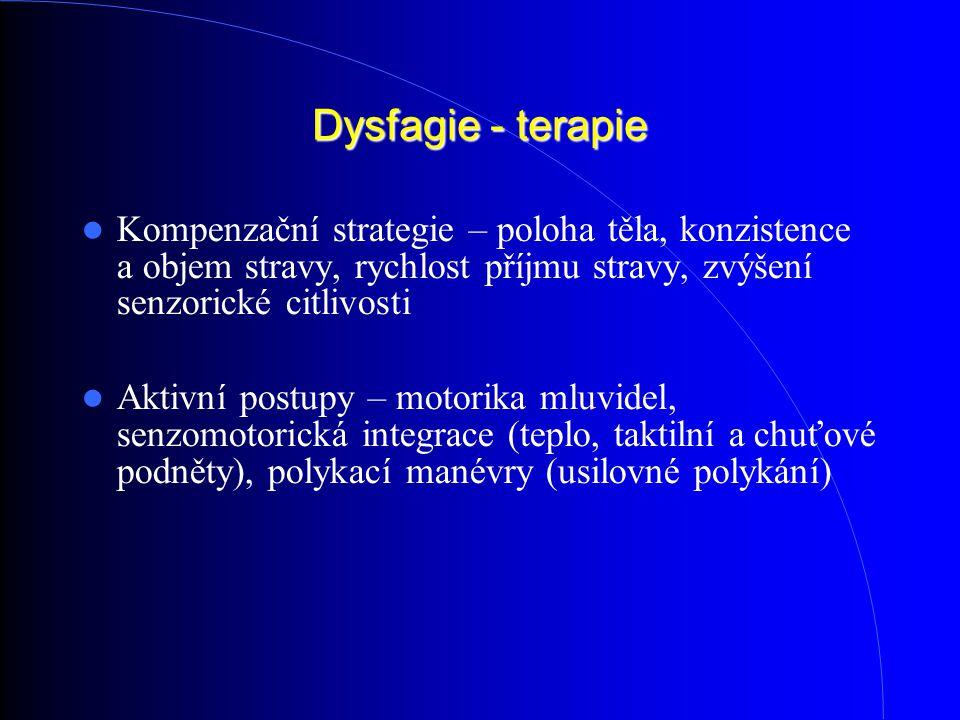 Dysfagie - terapie Kompenzační strategie – poloha těla, konzistence a objem stravy, rychlost příjmu stravy, zvýšení senzorické citlivosti.