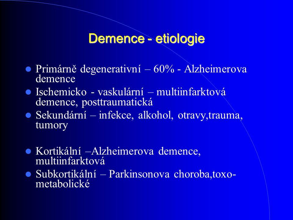 Demence - etiologie Primárně degenerativní – 60% - Alzheimerova demence. Ischemicko - vaskulární – multiinfarktová demence, posttraumatická.