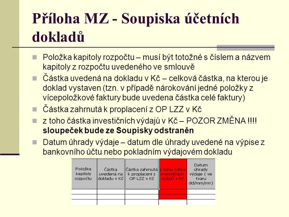 Příloha MZ - Soupiska účetních dokladů