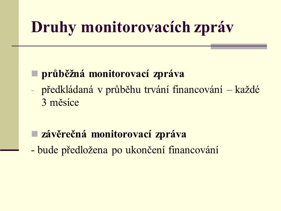 Druhy monitorovacích zpráv