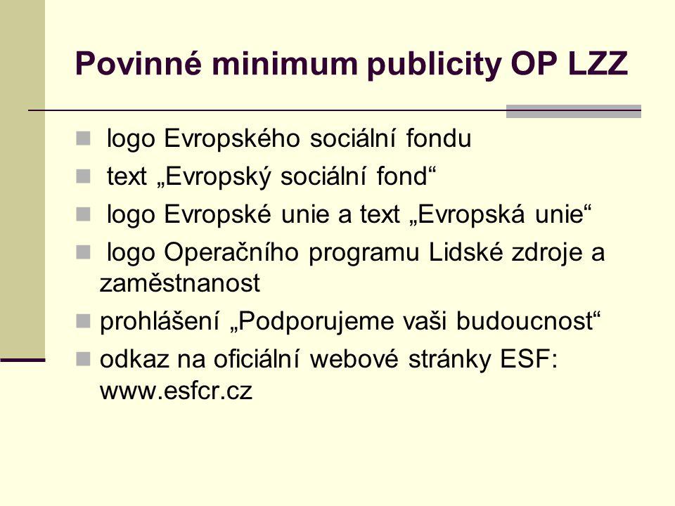 Povinné minimum publicity OP LZZ