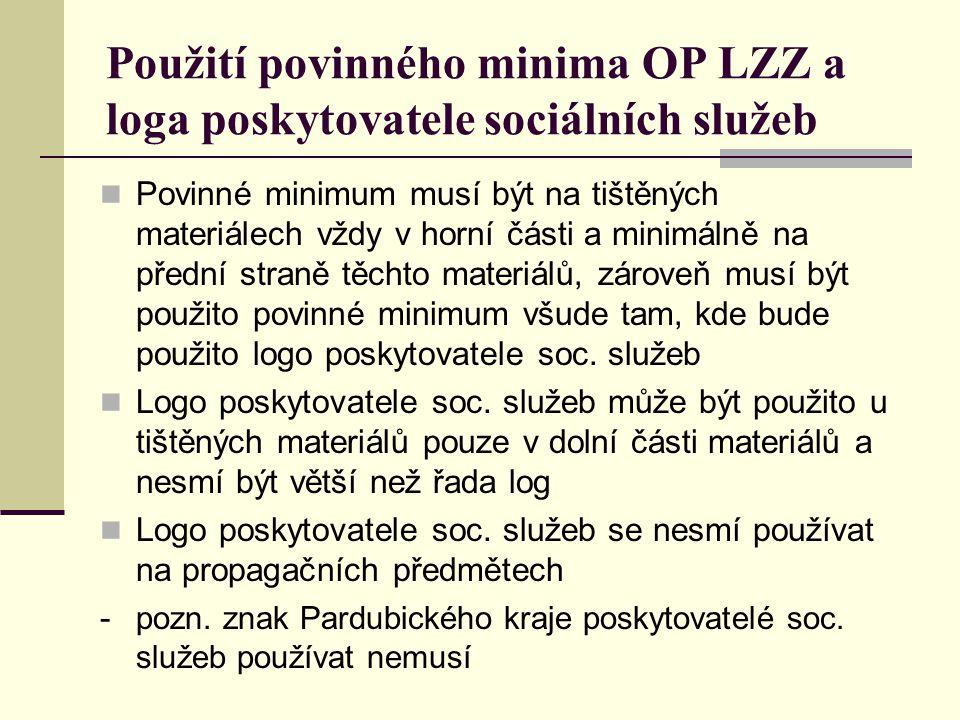 Použití povinného minima OP LZZ a loga poskytovatele sociálních služeb