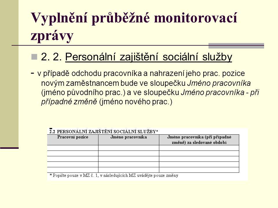 Vyplnění průběžné monitorovací zprávy