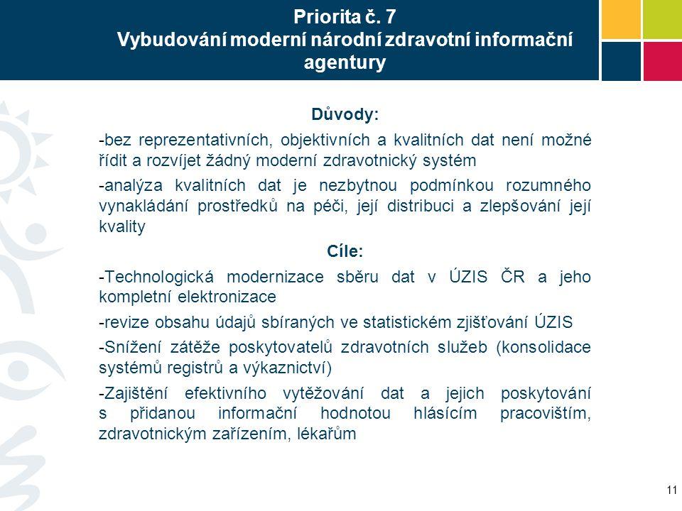Priorita č. 7 Vybudování moderní národní zdravotní informační agentury