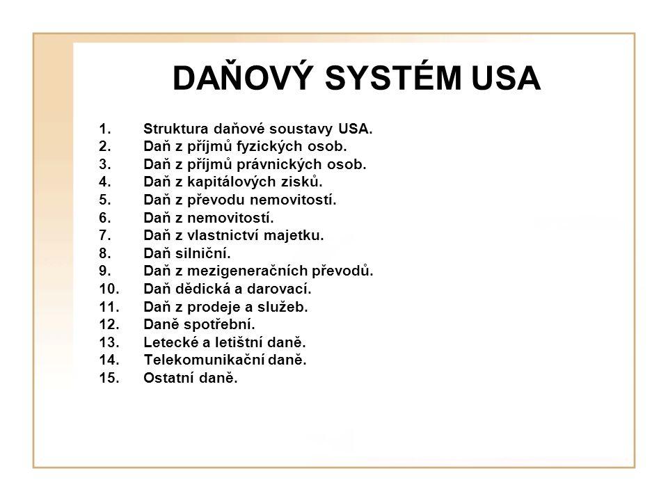 DAŇOVÝ SYSTÉM USA Struktura daňové soustavy USA.
