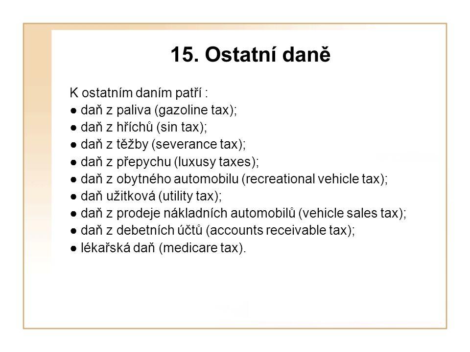15. Ostatní daně K ostatním daním patří :
