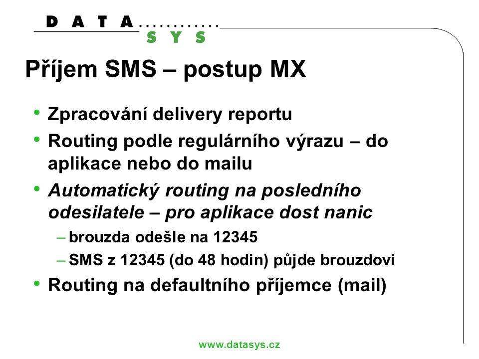 Příjem SMS – postup MX Zpracování delivery reportu