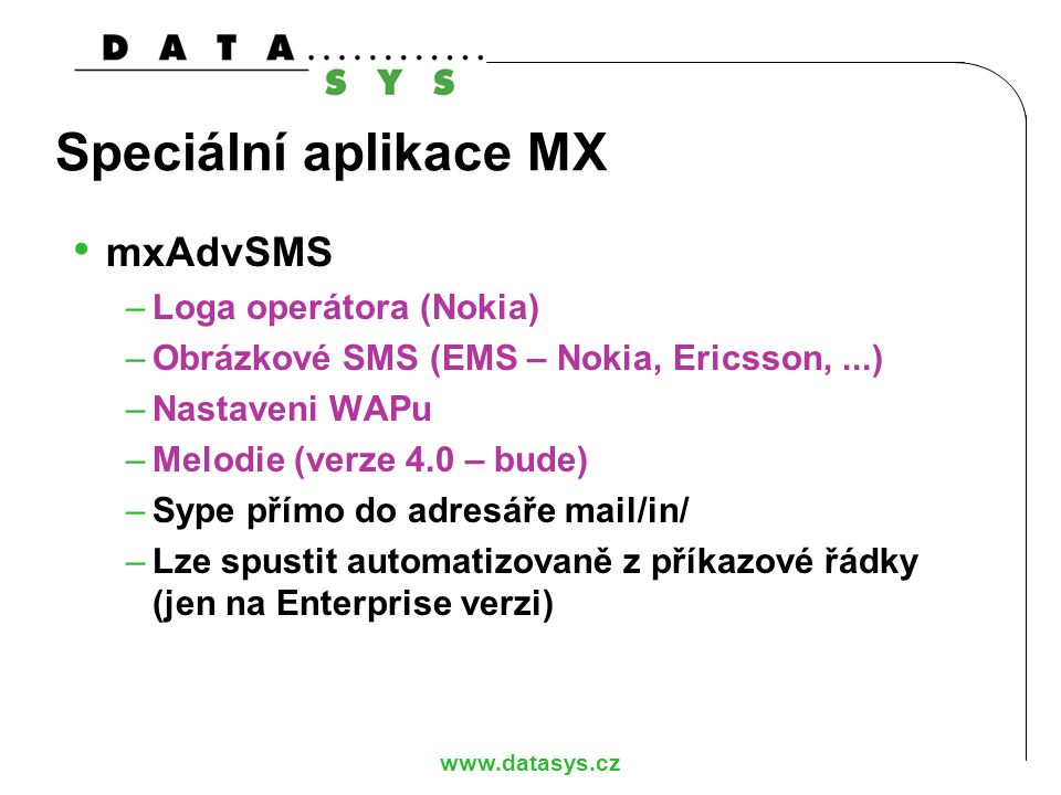 Speciální aplikace MX mxAdvSMS Loga operátora (Nokia)