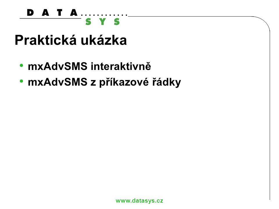 Praktická ukázka mxAdvSMS interaktivně mxAdvSMS z příkazové řádky