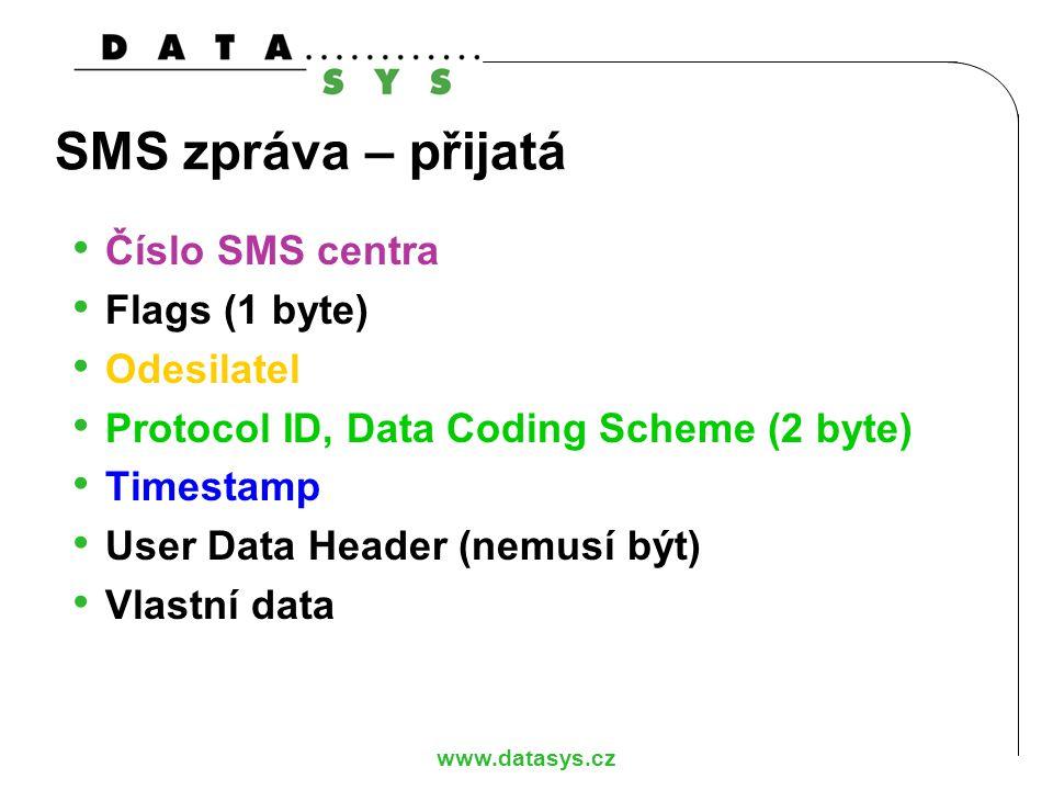 SMS zpráva – přijatá Číslo SMS centra Flags (1 byte) Odesilatel