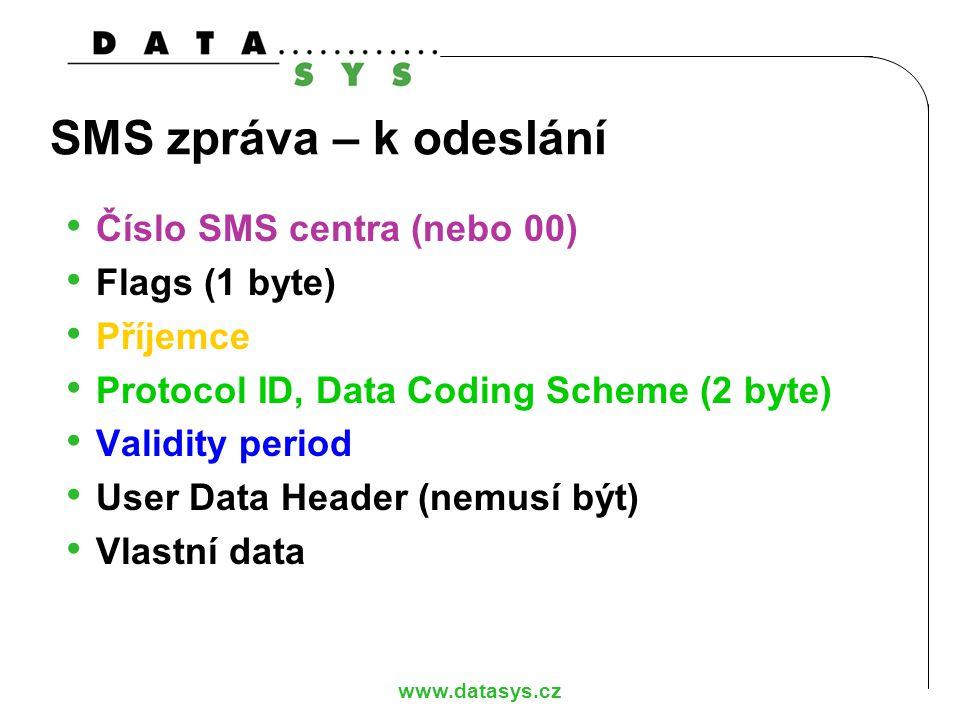 SMS zpráva – k odeslání Číslo SMS centra (nebo 00) Flags (1 byte)