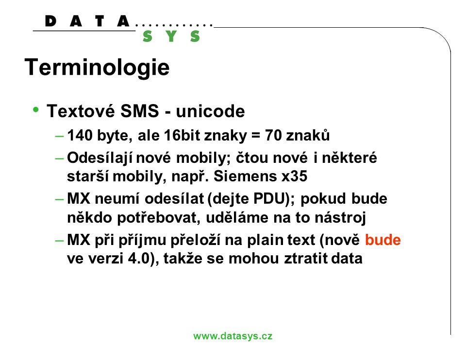Terminologie Textové SMS - unicode