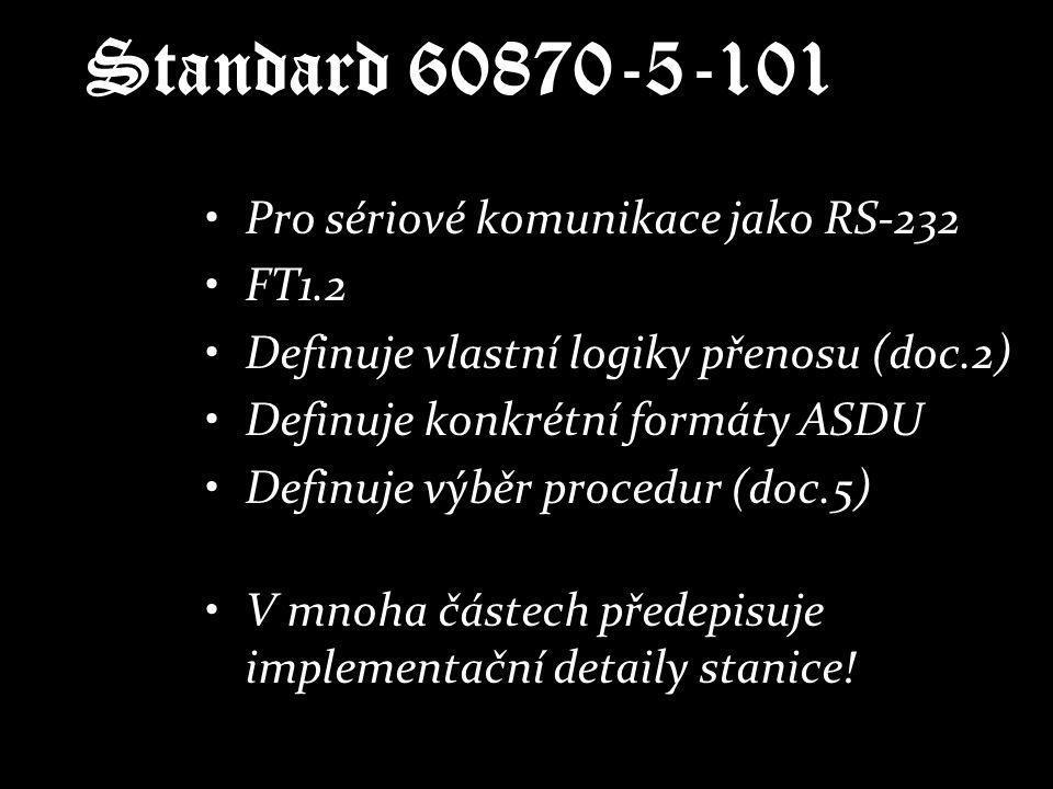 Standard 60870-5-101 Pro sériové komunikace jako RS-232 FT1.2