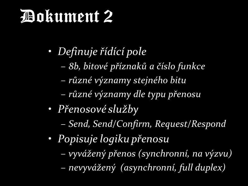 Dokument 2 Definuje řídící pole Přenosové služby