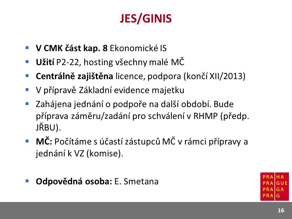 JES/GINIS V CMK část kap. 8 Ekonomické IS