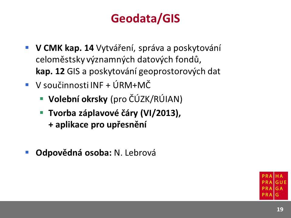 Geodata/GIS V CMK kap. 14 Vytváření, správa a poskytování celoměstsky významných datových fondů, kap. 12 GIS a poskytování geoprostorových dat.