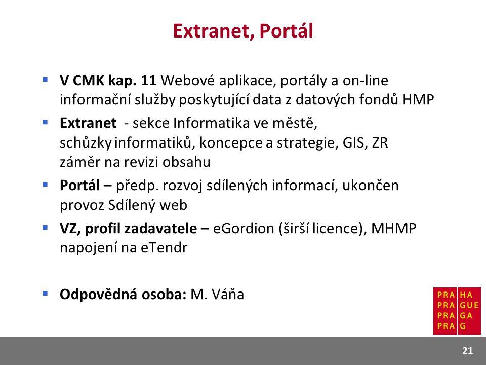 Extranet, Portál V CMK kap. 11 Webové aplikace, portály a on-line informační služby poskytující data z datových fondů HMP.