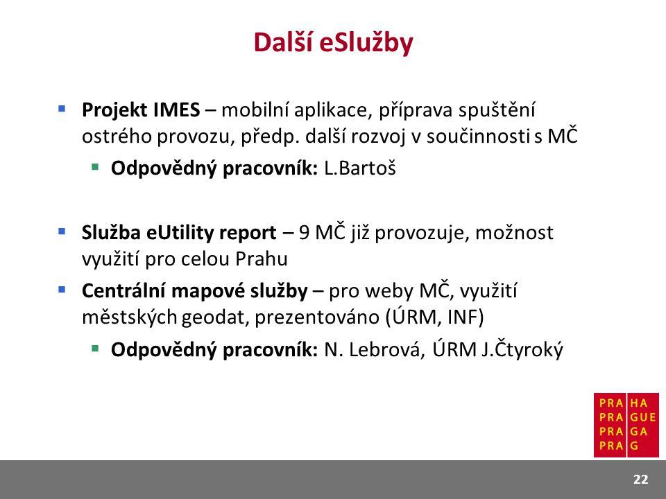 Další eSlužby Projekt IMES – mobilní aplikace, příprava spuštění ostrého provozu, předp. další rozvoj v součinnosti s MČ.