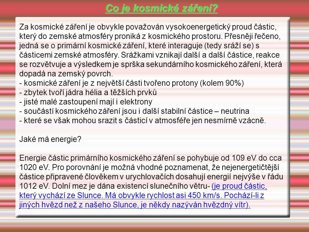 - kosmické záření je z největší části tvořeno protony (kolem 90%)
