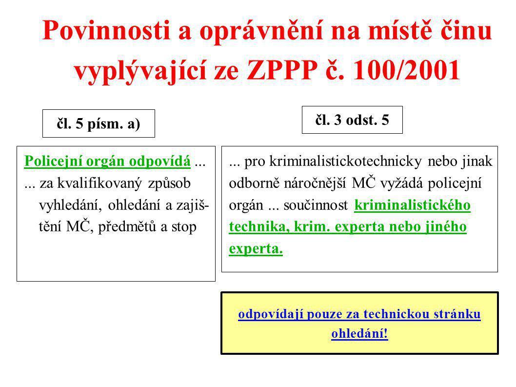 Povinnosti a oprávnění na místě činu vyplývající ze ZPPP č. 100/2001