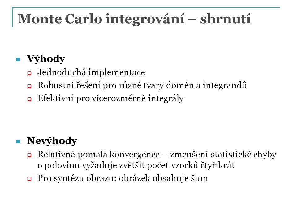 Monte Carlo integrování – shrnutí