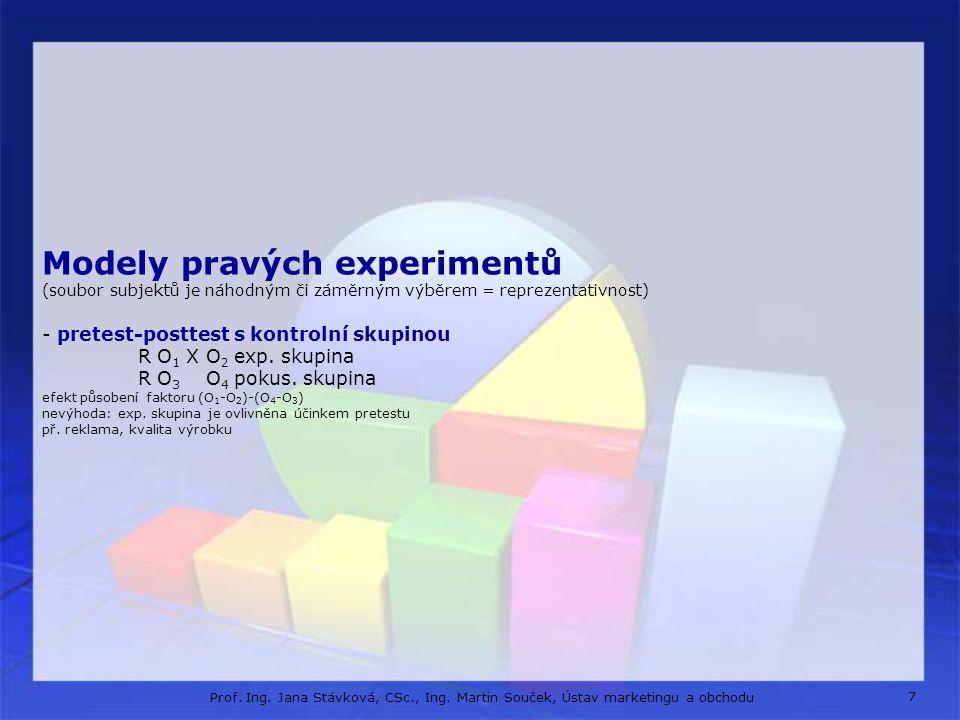 Modely pravých experimentů (soubor subjektů je náhodným či záměrným výběrem = reprezentativnost) - pretest-posttest s kontrolní skupinou R O1 X O2 exp. skupina R O3 O4 pokus. skupina efekt působení faktoru (O1-O2)-(O4-O3) nevýhoda: exp. skupina je ovlivněna účinkem pretestu př. reklama, kvalita výrobku