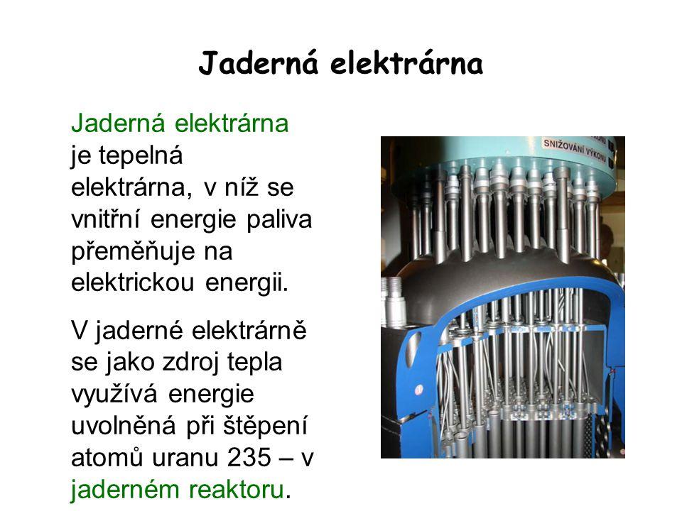 Jaderná elektrárna Jaderná elektrárna je tepelná elektrárna, v níž se vnitřní energie paliva přeměňuje na elektrickou energii.