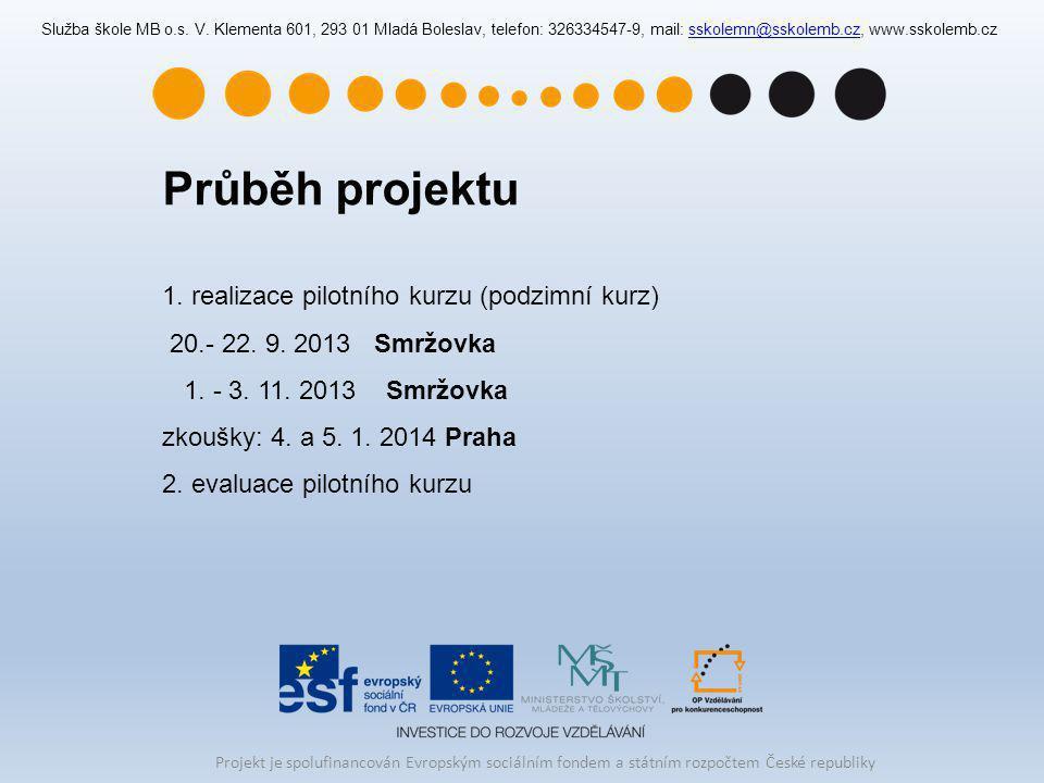 Průběh projektu realizace pilotního kurzu (podzimní kurz)