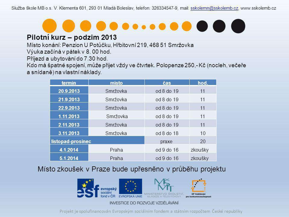 Místo zkoušek v Praze bude upřesněno v průběhu projektu