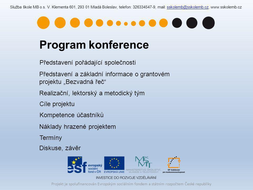 Program konference Představení pořádající společnosti