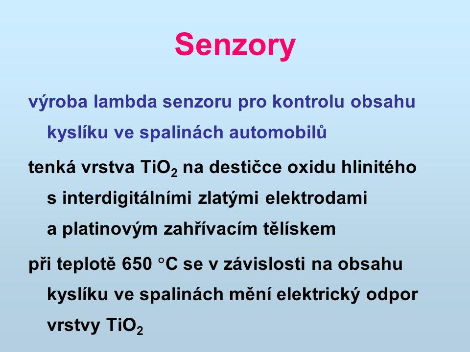 Senzory výroba lambda senzoru pro kontrolu obsahu kyslíku ve spalinách automobilů.