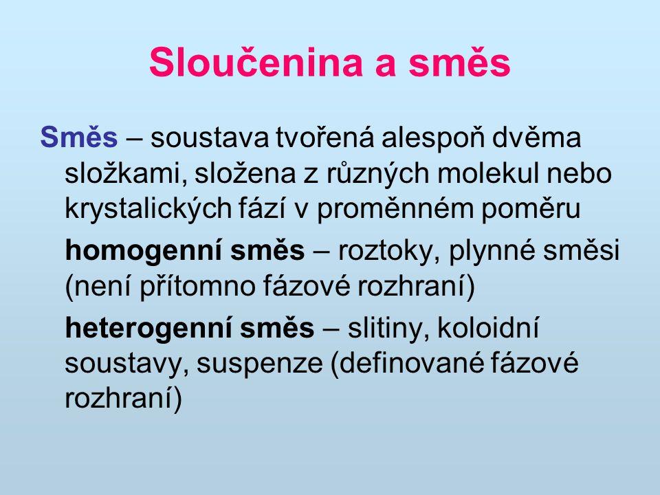 Sloučenina a směs Směs – soustava tvořená alespoň dvěma složkami, složena z různých molekul nebo krystalických fází v proměnném poměru.