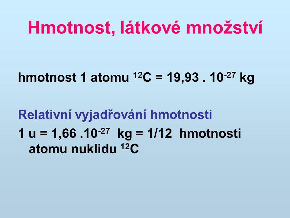 Hmotnost, látkové množství