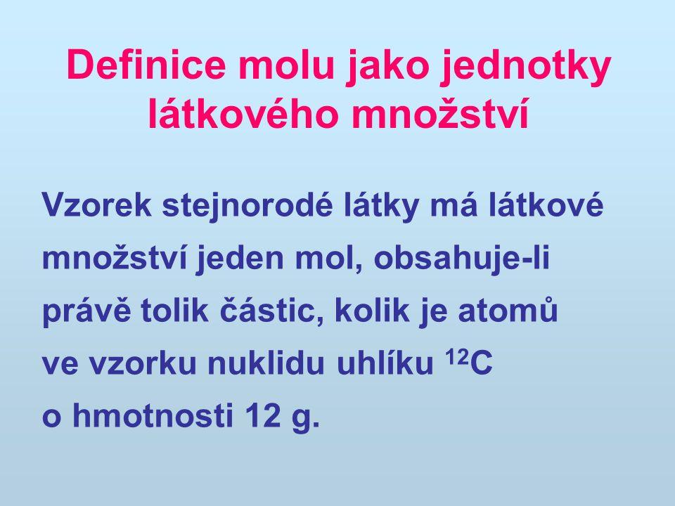 Definice molu jako jednotky látkového množství