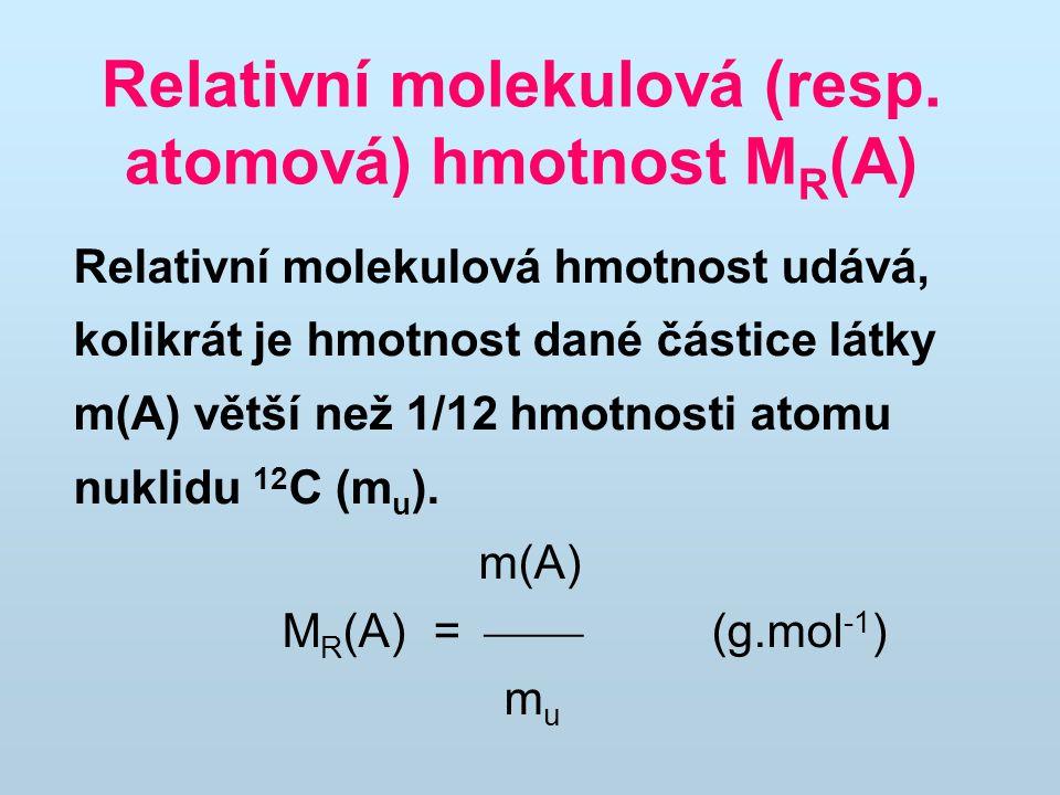 Relativní molekulová (resp. atomová) hmotnost MR(A)