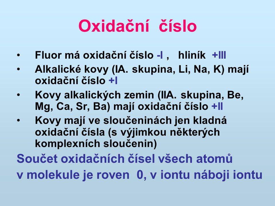 Oxidační číslo Součet oxidačních čísel všech atomů