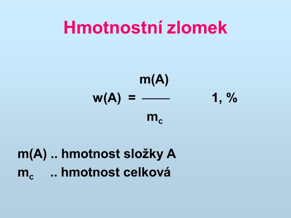 Hmotnostní zlomek m(A) w(A) =  1, % mc m(A) .. hmotnost složky A