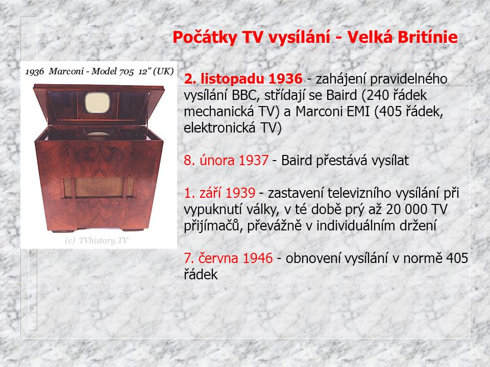 Počátky TV vysílání - Velká Britínie
