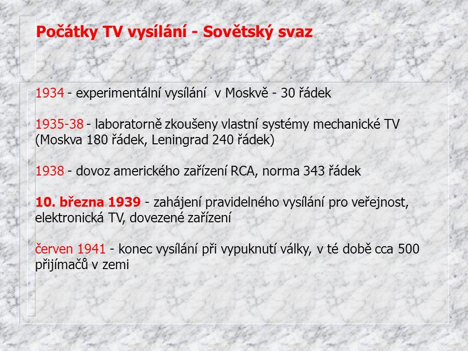 Počátky TV vysílání - Sovětský svaz