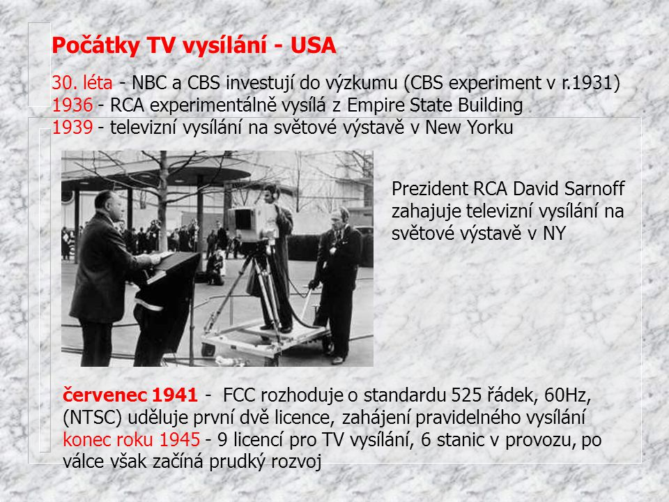 Počátky TV vysílání - USA