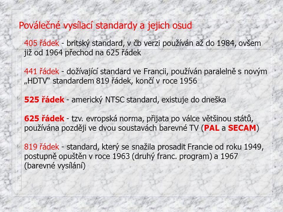 Poválečné vysílací standardy a jejich osud