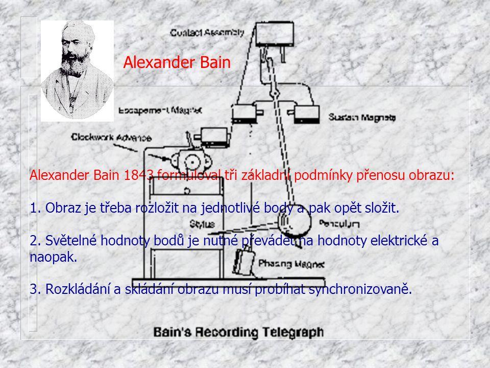 Alexander Bain Alexander Bain 1843 formuloval tři základní podmínky přenosu obrazu: 1. Obraz je třeba rozložit na jednotlivé body a pak opět složit.