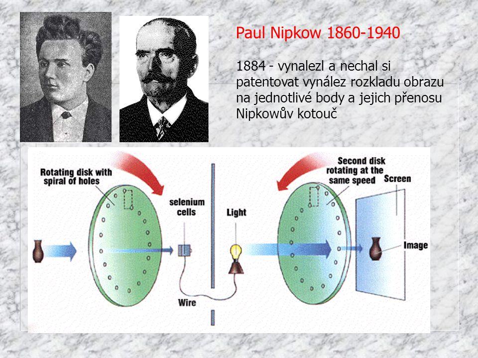 Paul Nipkow 1860-1940 1884 - vynalezl a nechal si patentovat vynález rozkladu obrazu na jednotlivé body a jejich přenosu.