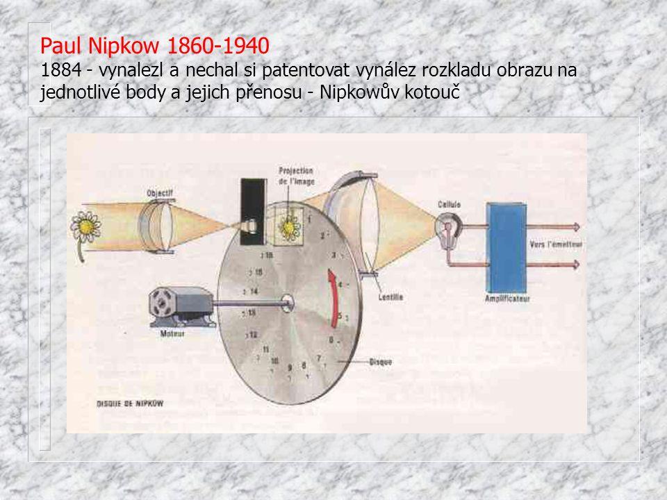 Paul Nipkow 1860-1940 1884 - vynalezl a nechal si patentovat vynález rozkladu obrazu na jednotlivé body a jejich přenosu - Nipkowův kotouč.