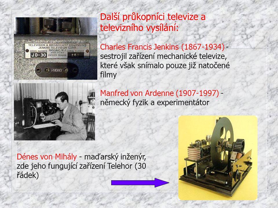 Další průkopníci televize a televizního vysílání: