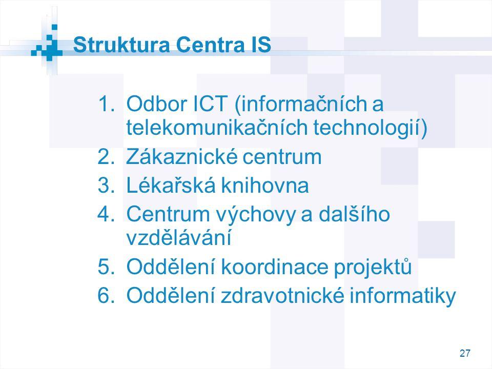 Struktura Centra IS Odbor ICT (informačních a telekomunikačních technologií) Zákaznické centrum. Lékařská knihovna.