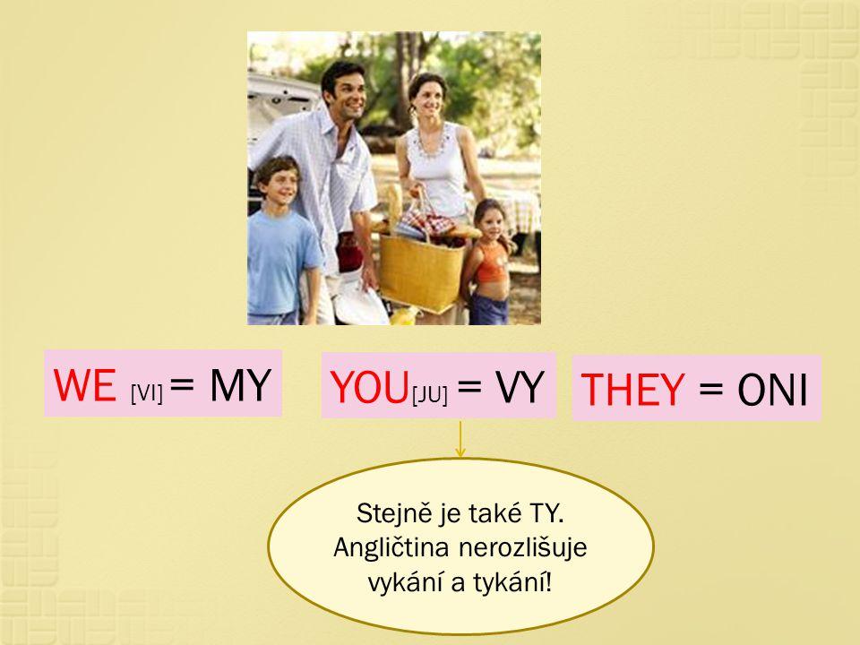 Stejně je také TY. Angličtina nerozlišuje vykání a tykání!