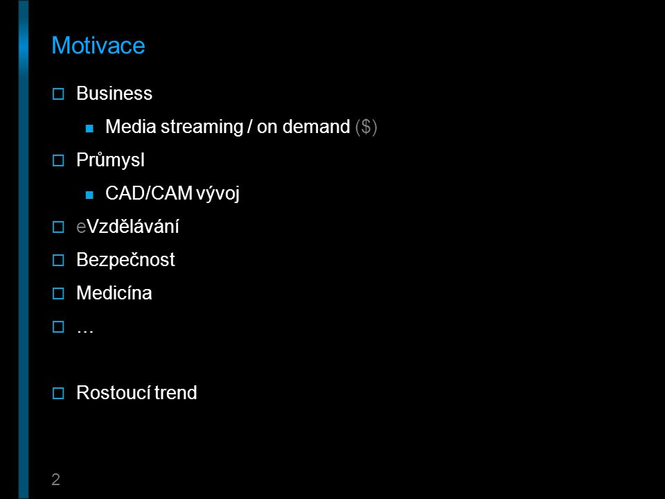 Motivace Business Media streaming / on demand ($) Průmysl
